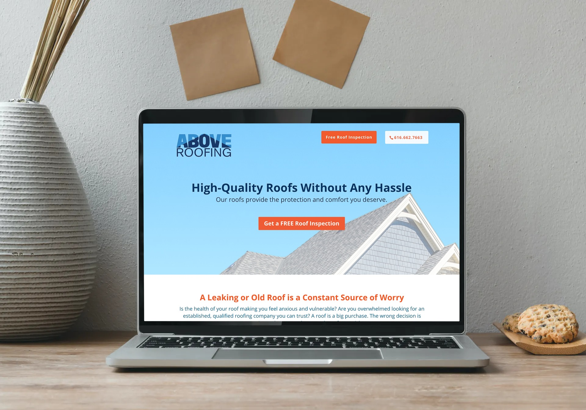Above Roofing homepage mockup